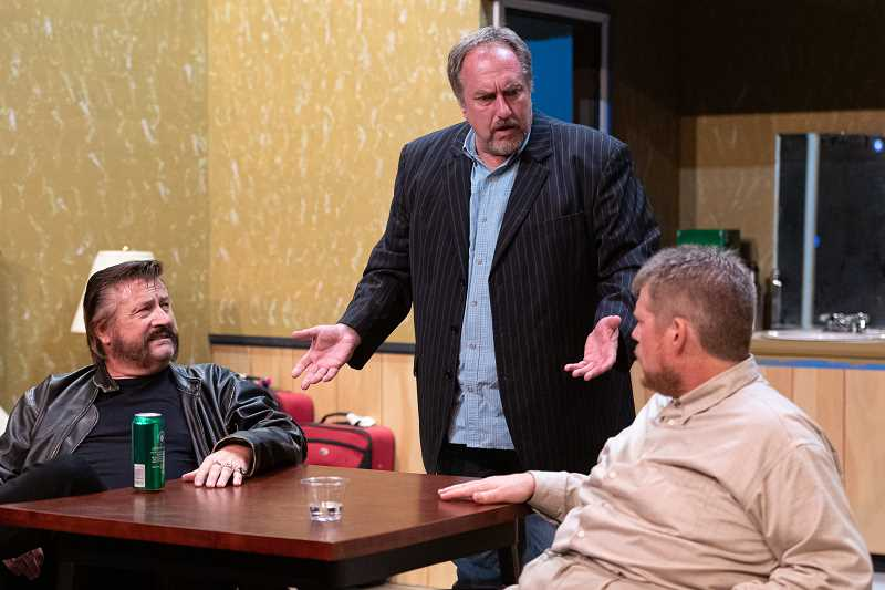 PMG PHOTO: CHRISTOPHER OERTELL - Best friends Mitch, Peter and Max, portrayed by Doug Sellers, Steve Koeppen and Brandon B. Weaver, are dealing with complicated relationships in HARTs newest production, Reunion.