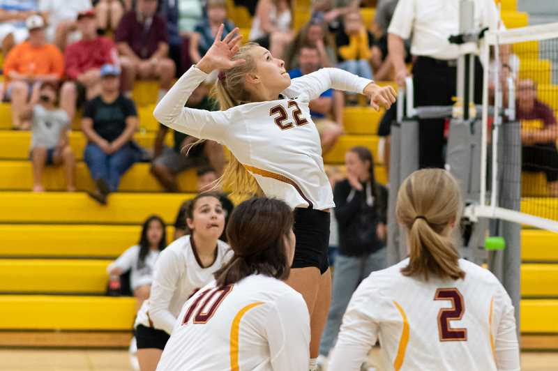 PMG PHOTO: CHRISTOPHER OERTELL - Forest Grove's Amanda Rebsom (22) during a volleyball match against Aloha at Forest Grove High School in Forest Grove on Tuesday, Sept. 3.