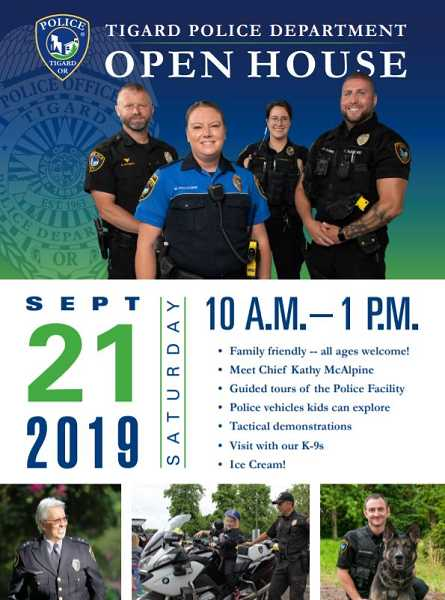 COURTESY OF TIGARD POLICE DEPARTMENT - The Tigard Police Department is offering an open house for the community from 10 a.m. to 1 p.m. on Saturday, Sept. 21. It will include educational demonstrations as well as tours of the police facility.