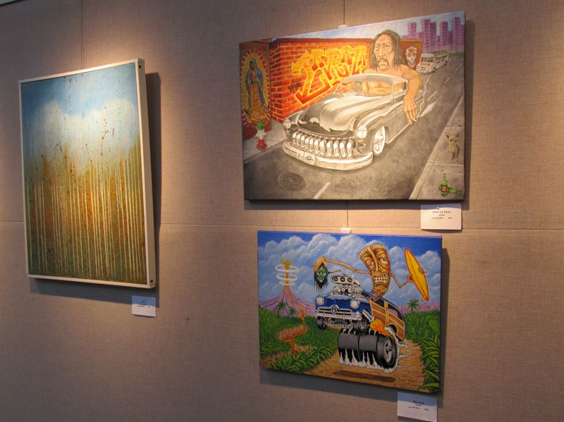 PMG PHOTO: SHANNON O. WELLS - Clockwise from left, Sergey Bezhinets Rain and Leo Hartshorns Viva La Raza and Tiki Road are among the colorful and thought-provoking paintings on display at the Gresham Visual Arts Gallery through Thursday, Nov. 7.