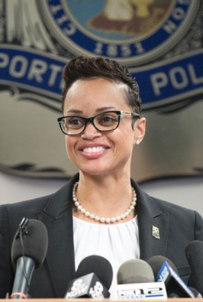 PMG FILE PHOTO - Police Chief Danielle Outlaw joined with Mayor Ted Wheeler to announce that Lt. Jeff Niiya's texts with Joey Gibson of Patriot Prayer violated no policy.