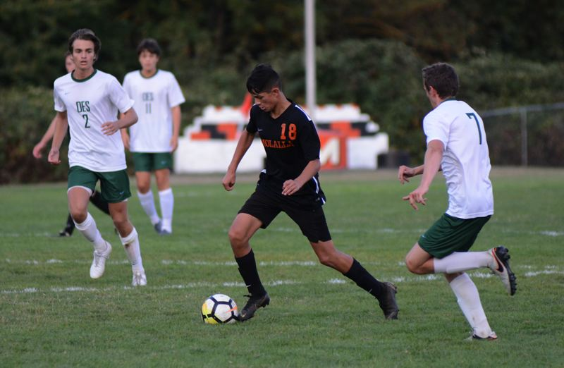 PMG PHOTO: DEREK WILEY - Molalla freshman Antuan Peterson scored the Indians first goal of the season Thursday at OES.