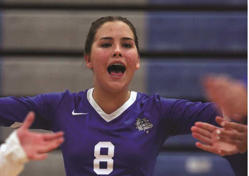 PMG FILE PHOTO: PHIL HAWKINS - Larissa Krivoshein and the Woodburn volleyball team defeated the Madras White Buffaloes 3-1 on Thursday, giving the Bulldogs their first non-tournament win since Oct. 14, 2010.