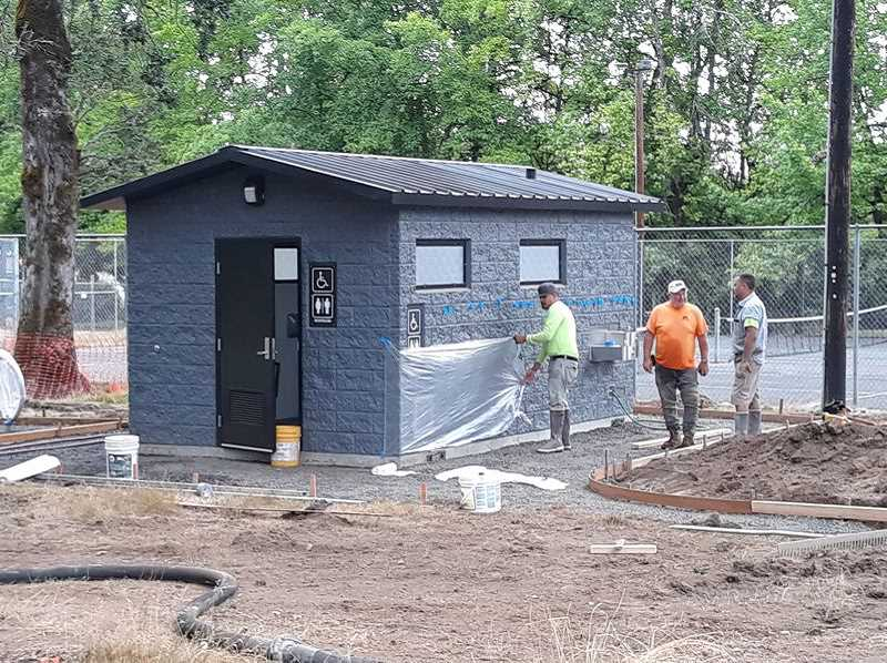 PMG PHOTO: MARK MILLER - Bathrooms at Rogers Park while still under construction in August.