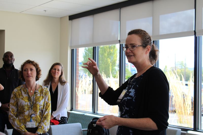 PMG PHOTO: MAX EGENER - Dr. Mary Nordling, program director of the Tuality Family Residency program, speaks to new physicians and faculty from Tuality Healthcare and Oregon Health & Science University at the expanded South Hillsboro Primary Care Clinic.
