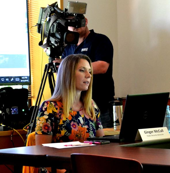 OREGON CAPITAL BUREAU: CLAIRE WITHYCOMBE - Oregon's Public Records Advocate Ginger McCall led a Friday, Sept. 13, meeting of the state Public Records Council. McCall resigned Sept. 9, citing pressure from the governor's office.