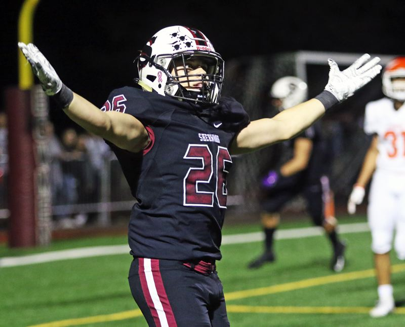 PMG PHOTO: DAN BROOD - Sherwood High School senior running back Brody Stevens celebrates during the Bowmen's come-from-behind 42-14 win over Sprague in Friday's non-league game.