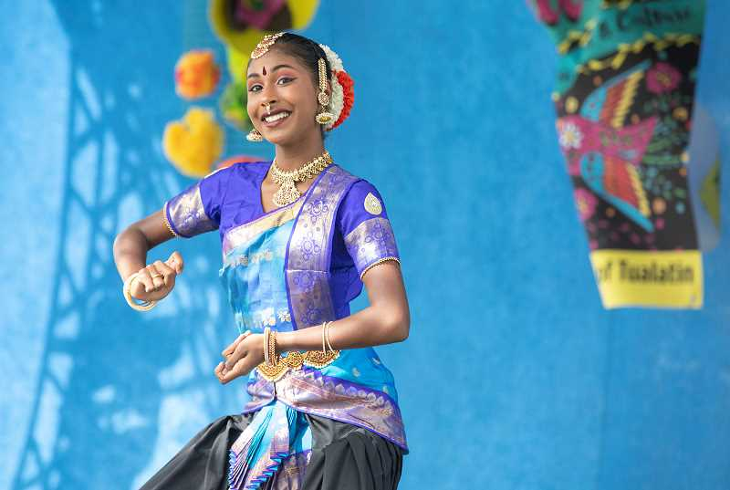 PMG PHOTO: JONATHAN HOUSE - Mahathi Sridhar performs a traditional Bharatnatyam Indian dance at Viva Tualatin! Saturday at Tualatin Community Park.