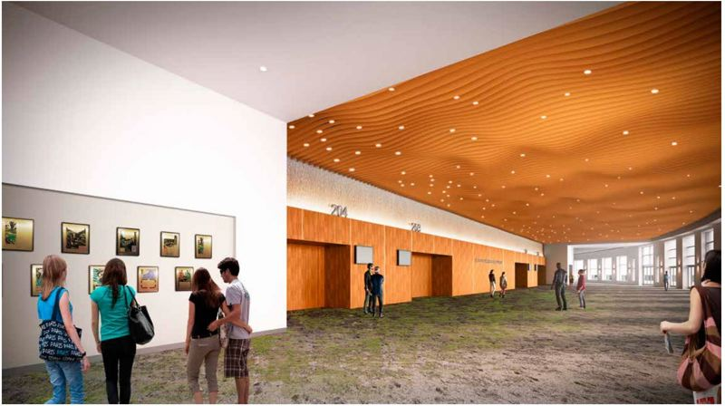COURTESY: OREGON CONVENTION CENTER - Renovation work in a pre-event area outside the Oregon Ballroom included new carpeting, wood paneling around doorways and a ceiling treatment of a topographically accurate representation of the Cascade Mountain range.