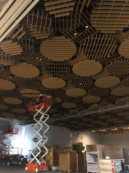COURTESY: COLAS CONSTRUCTION - Installing the Oregon Ballrooms unique ceiling treatment required careful planning.