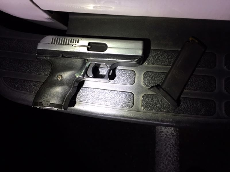 VIA PPB - Police claim to have confiscated this gun during a traffic stop for suspected illegal street racing.
