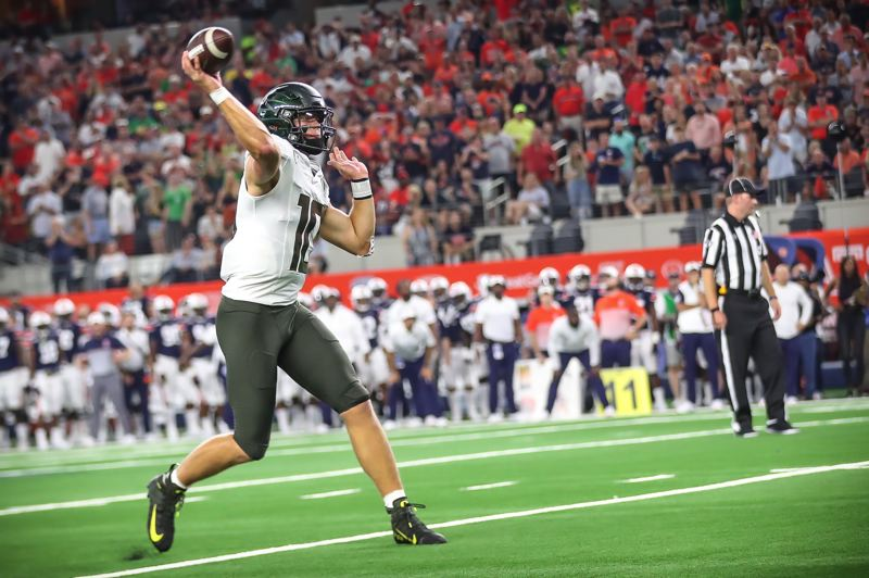COURTESY PHOTO: SERENA MORONES - Justin Herbert unleashes a pass for Oregon. Through three games, hes thrown for 11 touchdowns without an interception.