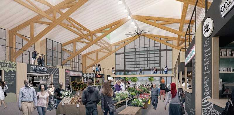 COURTESY PHOTO: CITY OF GRESHAM - A rendering of how the Rockwood Rising Market Hall will look once completed in early 2021.