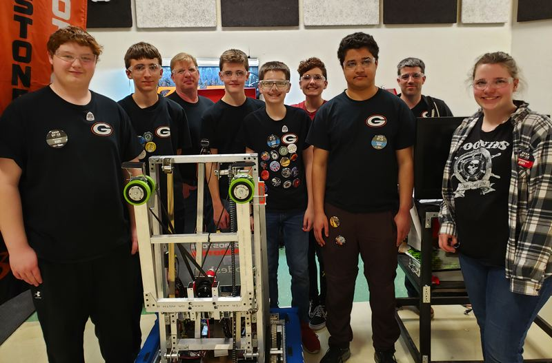 COURTESY PHOTO - Gladstone High School robotics team coaches seek to build skills in coding, fabrication and electrical wiring, in addition to planning, teamwork, fundraising, outreach and oral presentations.