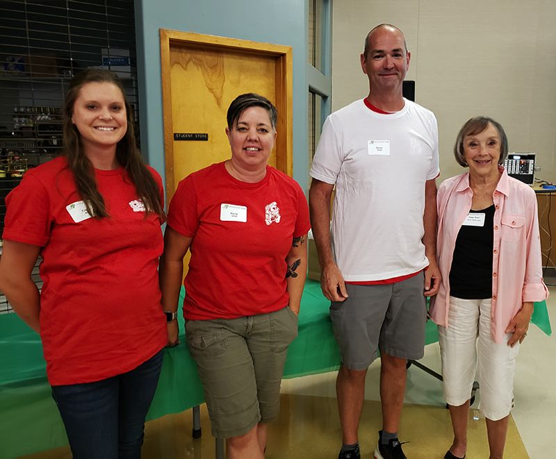 COURTESY PHOTOS - Gladstone teachers Emily Morse, Kerry Jeffrey and Kevin Zerzan pose with Peggy Baker, whose husband Dick Baker, a retired principal, funded the Thank A Teacher award program.