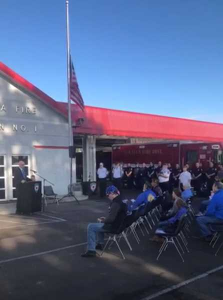 COURTESY PHOTO: DUSTIN HAMILTON - The Molalla Rural Fire Protection District held a ceremony on Sept. 11 to honor those who died on that day in 2001.