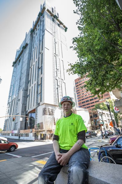 PAMPLIN MEDIA GROUP: JONATHAN HOUSE  - After studying botany and working in dead-end agribusiness, Rachael Kofahl found her calling as a sheet metal journeyman. She is currently working on the new Multnomah County Courthouse.