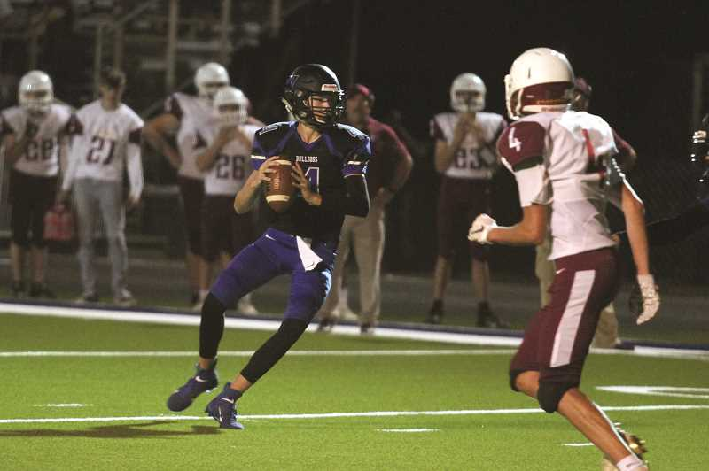 PMG PHOTO: PHIL HAWKINS - Junior quarterback Jordan Blem threw for five touchdowns to lead the Bulldogs to their first win of the 2019 season.