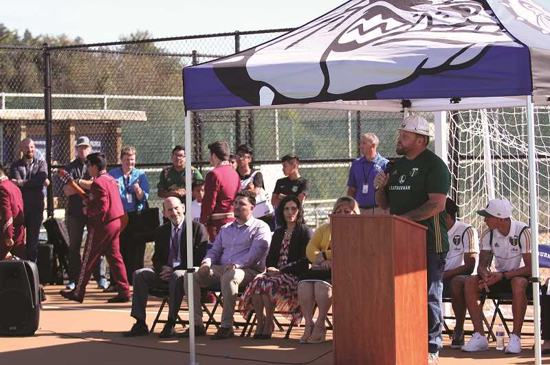 PMG PHOTO: PHIL HAWKINS - Portland Timbers mascot Joey Webber — aka Timber Joey — welcomed community members to the grand-opening celebration of the new futsal courts on Thursday.