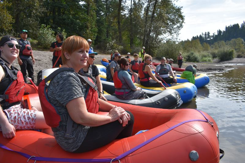 PMG PHOTO: SHANNON O. WELLS - Rafters prepare to head downriver for the fifth annual Sandy River Cleanup float at Dabney Park.