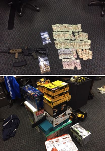 VIA PPB - Police say they recovered cash, drugs, two guns and a variety of stolen property in the Brentwood Darlington neighborhood of Portland.