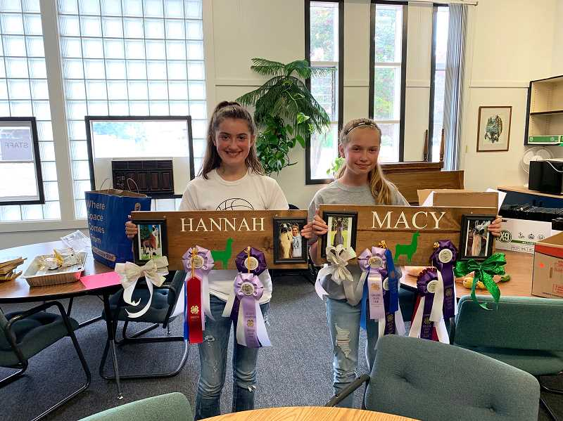PMG PHOTO: CAROL ROSEN - Hannah and Macy Jones show off their ribbons from the Oregon State Fair.