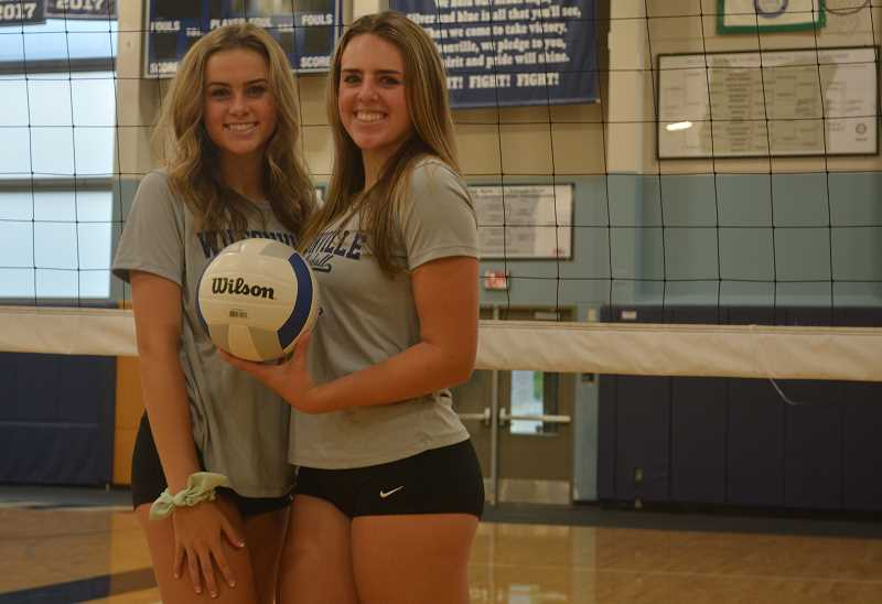 PMG PHOTO: DEREK WILEY - Sisters Tatum and Tenley Lubisich are middle blockers on Wilsonville's volleyball team.