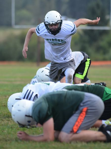 PMG PHOTO: DAVID BALL - An Estacada player goes through footwork drills in the first week of practice. The Rangers won their opener at the horn against Valley Catholic.