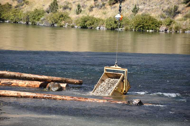 SUBMITTED PHOTO - A helicopter lowers a scoop of natural materials into the Deschutes River, below the Pelton Round Butte Hydroelectric Project, to improve spawning habitat for salmon and steelhead.