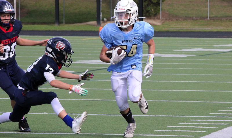 COURTESY PHOTO - The Lakeridge seventh-grade JV Pacers pushed Westview to the very end in their Saturday, Sept. 14, contest at Westview High School, eventually falling 33-28 on a last-second touchdown.