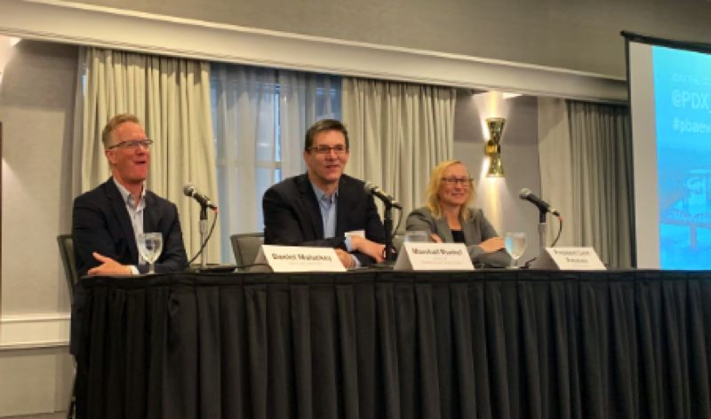 COURTESY PBA - Speaking about congestion pricing at the Portland Business Alliance forum were (from left) Senior Sightline Institute Fellow Malarkey, Commissioner Chloe Eudaly's chief of staff Marshall Runkel, and Metro President Lynn Peterson.