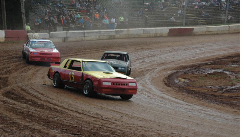 COURTESY PHOTO: MIKE WEBER - Terry King (13) of Warren drove his Buick Regal to a sweep in the Street Stock Division on Sept. 14 at River City Speedway in St. Helens.