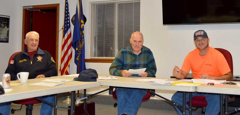 PMG PHOTO: CINDY FAMA - Officers of the board of directors of Colton Rural Volunteer Fire Department are from left: Jim Postlewait as secretary-treasurer, Rex Rice as vice president and Tim Baurer as president.