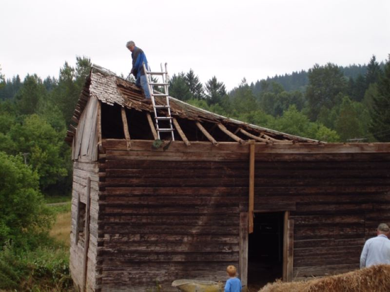 COURTESY PHOTO: PAM HAYDEN - The Molalla Log House had to be dismantled in 2008 due to rotting boards and a collapsed roof.
