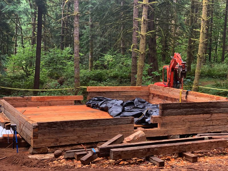 COURTESY PHOTO: KIMBERLY JACOBSEN NELSON - The Molalla Log House is being reassembled near a walking trail near newly constructed ponds at Hopkins Demonstration Forest.