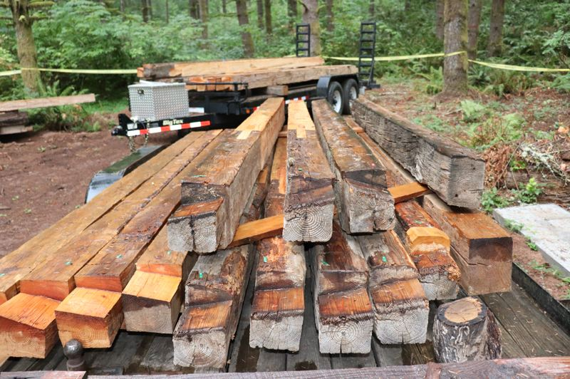 COURTESY PHOTO: KIMBERLY JACOBSEN NELSON - Hand-hewn Douglas fir logs stack tightly together to keep out the weather.