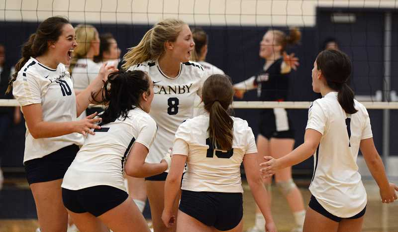 PMG PHOTO: DEREK WILEY - Canby's volleyball team celebrates during a match played earlier this season.