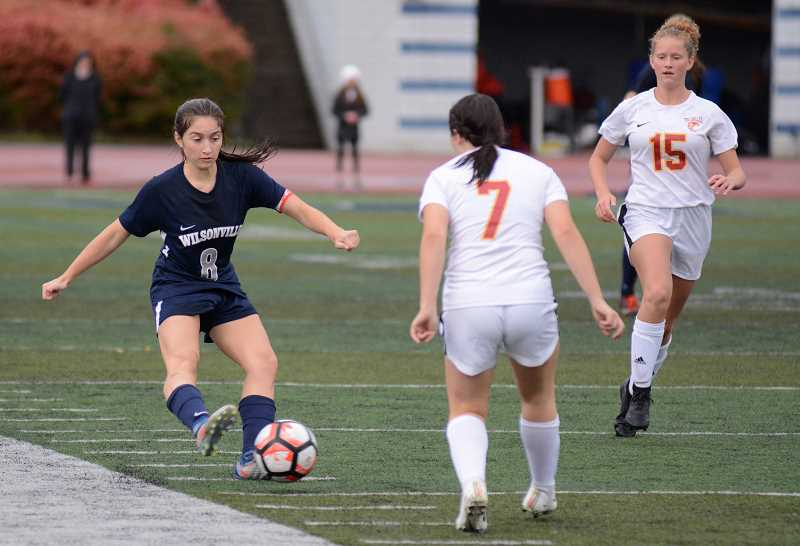 PMG PHOTO: DEREK WILEY - Wilsonville's Haley Stahl scored three goals against The Dalles Tuesday.