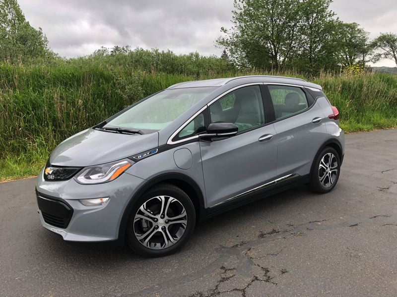 PMG PHOTO: JEFF ZURSCHMEIDE - The Chevrolet Bolt is an attractive compact that will give you an honest 238 miles of range on a full charge, and the car makes excellent use of regeneration capability to push that even farther.