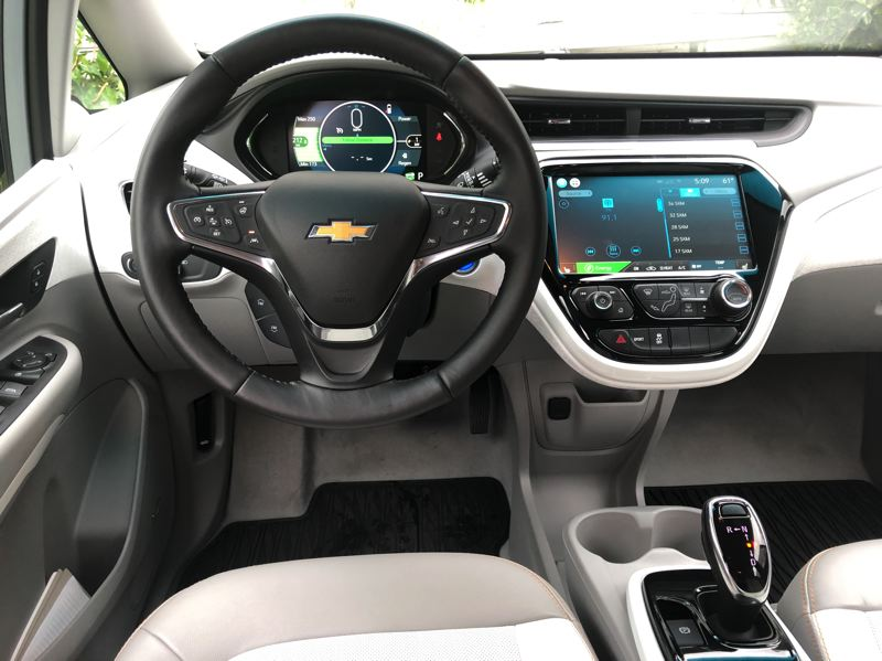 PMG PHOTO: JEFF ZURSCHMEIDE - The Chevy Bolt incorporates a great technology package. It comes with a 10.2-inch touchscreen infotainment and control system, and an entirely digital 8-inch driver information display.