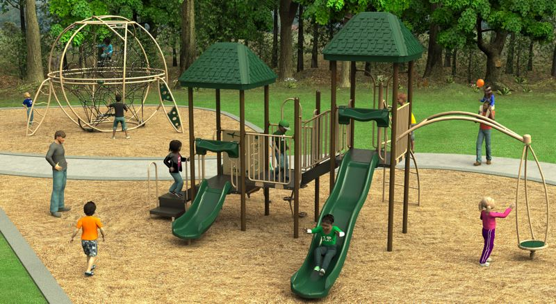 PHOTO COURTESY: OC PARKS - A rendering of the proposed playground replacement at Park Place Park may have slight alterations to the design as Oregon City continues through its planning process.