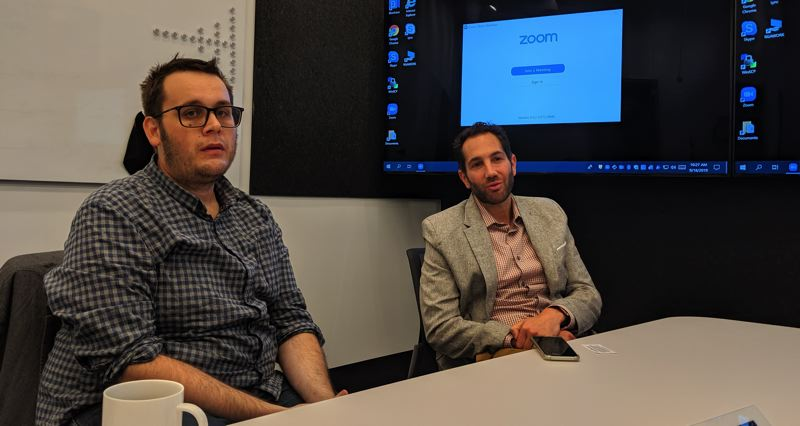 PAMPLIN MEDIA GROUP: JOSEPH GALLIVAN  - Donny Dvorin, (right) head of sales at Brave, and CEO Luke Mulks, hope to use blockchain to block unauthorized ads and send revenue in the form of crypto tokens to participating advertisers. Brave is one of six startups in the Oregon Enterprise Blockchain Venture Studio hosted by R/GA Ventures in the Pearl District.