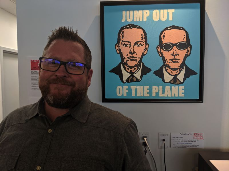 PAMPLIN MEDIA GROUP: JOSEPH GALLIVAN  - Dylan Boyd, director of new programs development at R/GA Ventures, manages the studio and introduces the OEBVS blockchain six to high quality companies who are looking for cool new technology. The R/GA office is decorated with outsider art, such as this piece about D. B. Cooper who hijacked a Boeing 727 aircraft and vanished.
