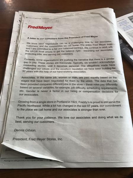 PMG PHOTO: ZANE SPARLING - Fred Meyer purchased a full-page ad in the Sunday Oregonian published Sept. 22.