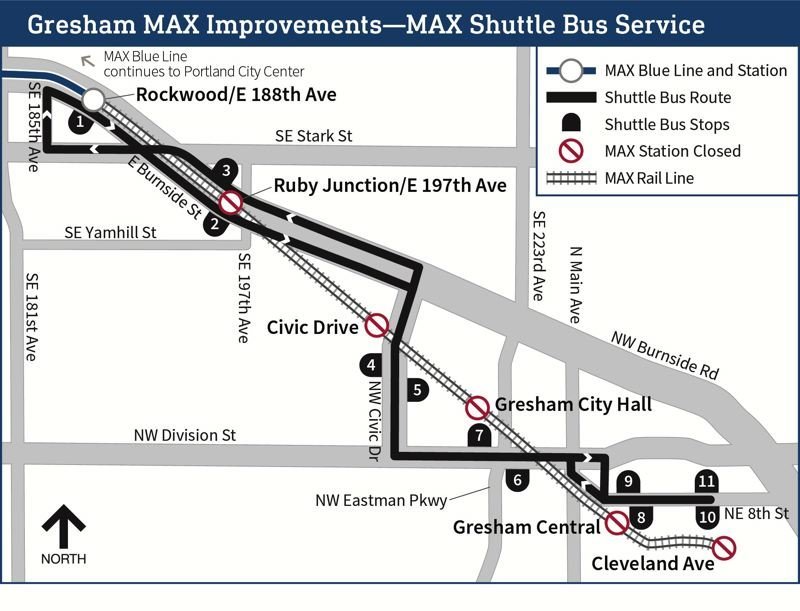 COURTESY TRIMET - A map showing shuttle bus connections.