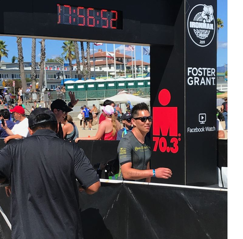 COURTESY PHOTO: JONATHAN YIM - Jonathan Yim, video coordinator and player development coach of the Trail Blazers, reached the finish of the Sept. 8 half Ironman triathlon in Santa Cruz, California.