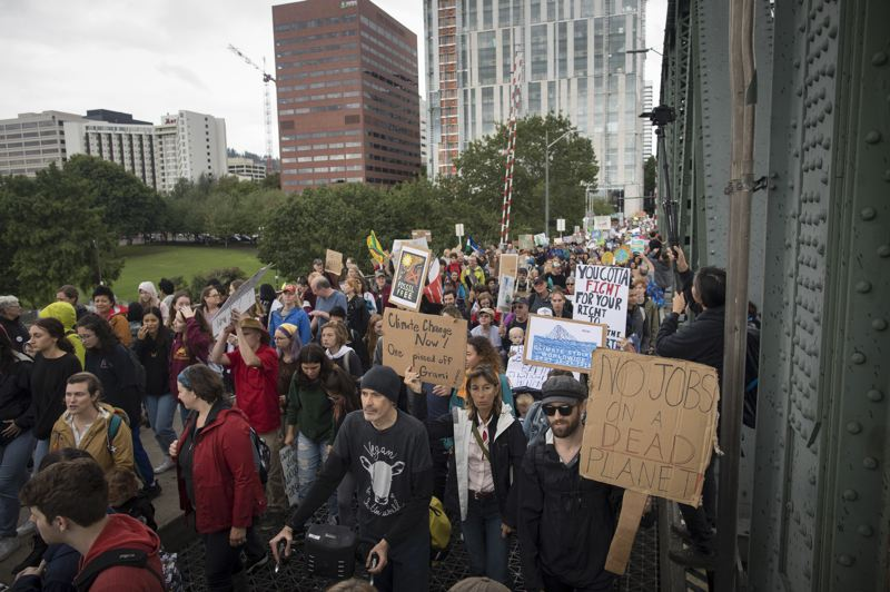 PMG PHOTO: COURTNEY VAUGHN - Thousands of students poured into downtown Portland on Friday, Sept. 20, to protest the lack of action to stop climate change.