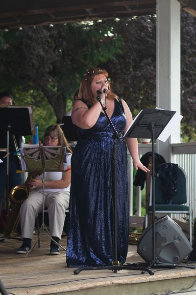 PMG PHOTO: ANNA DEL SAVIO - The Big River Big Band, which formed last year, performed at the Sauerkraut Festival with a guest singer.
