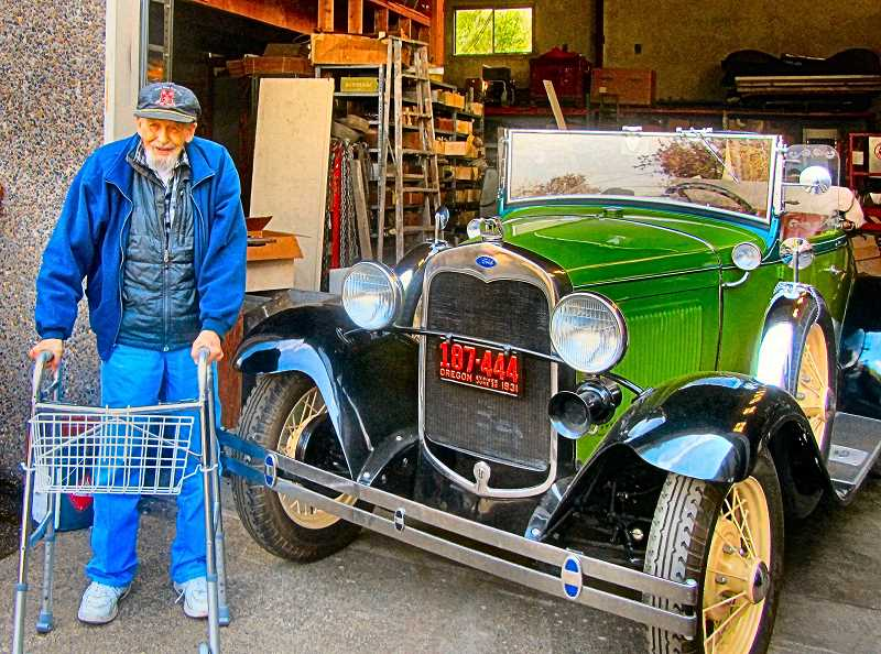 ERIC NORBERG - Russell Carter, now age 96, sold his Ford Roadster for display at the Ford Building, S.E. 11th and Division - and here, at noon on September 19, he was on hand to see it leave the garage where it had recently been stored, before its short trip over to the Ford Building.