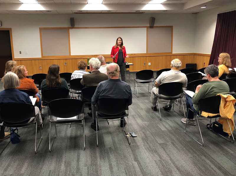PMG PHOTO: COREY BUCHANAN - Courtney Neron hosts town hall at the Wilsonville Public Library.